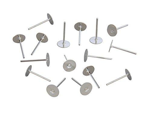 LOT DE 50 CLOUS SUPPORT BOUCLES D'OREILLES PLATEAU FIMO 6mm METAL ARGENTE CLAIR - LIVRAISON GRATUITE - CREATION PERLES