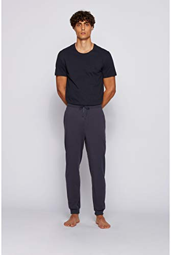 BOSS Mens Mix&Match Pants Logo Loungewear Trousers in Stretch Cotton Dark Blue