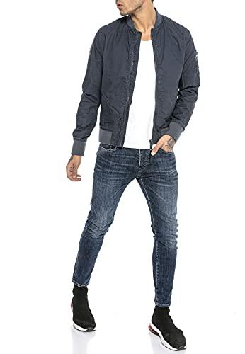 Redbridge Chaqueta de transición para Hombre Americana de Medio Tiempo de algodón Azul S