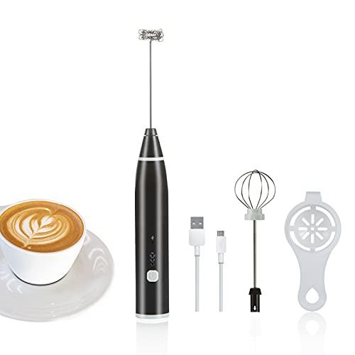 XiYee Espumador de Leche, Batidor Eléctrico de Café Batidor de Huevos de Mano, Batidor de Leche de 3 Velocidades Ajustable para Café, Latte, Cappuccino
