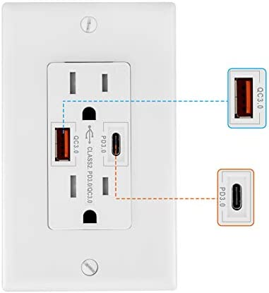 Quick Charge 3 0 USB Outlet 18W USB Wall Outlet Plug Power Delivery PD QC3 0 with Type A C Ports product image