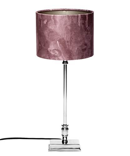 Brillibrum Design Tischleuchte mit Altrosa Stoffschirm Wohnzimmer-Lampe Zylinder Lampenschirm Marble für Tischlampe Rund E27 40 Watt eckiger Lampenfuß (Rosé, rechteckiger Fuß)
