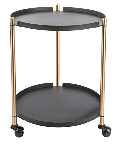Present Time - Table d'appoint Noire Mate et métal doré Thrill