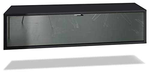 Vladon TV Board Lana 120 Hängeschrank Lowboard 120 x 29 x 37 cm, Korpus in Schwarz Matt, Fronten in Grau Hochglanz   Große Farbauswahl