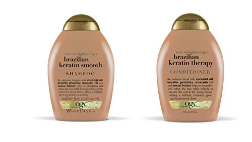OGX Ever-straightening + Brazillian Keratin Therapy Shampoo and Conditioner 13 Oz, 2 Bottle Set