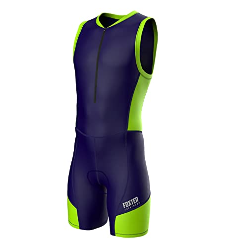 Foxter Active Herren Triathlon-Anzug, Tri-Rennanzug, Schwimmen, Laufen, Radfahren, Größe L, Marineblau/Neongrün