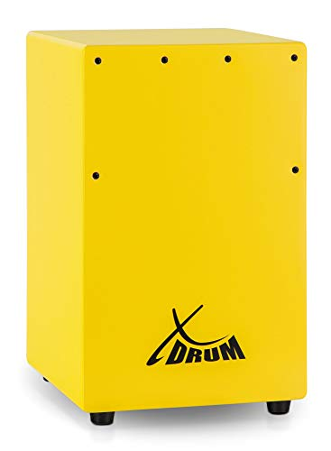 XDrum KC-37G Kinder-Cajon - Kleine Cajon speziell für Kinder - Nur 36 cm hoch - Snare-Effekt durch stimmbare Gitarrensaiten - gelb