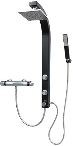 Duschpaneel Brausepaneel Duschsäule Duschsystem Komplettdusche Thermostat Armatur Regendusche mit 2 Massagedüsen, aus hochwertigem Kunststoff Handbrause Duschkopf Duscharmatur Wandmontage Schwarz