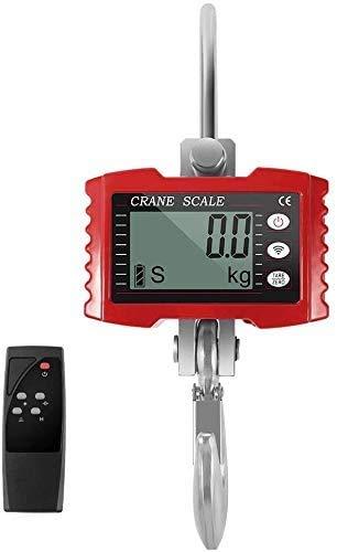 HUKOER 1000kg 2000LBS Báscula con Gancho Resistente Bascula Colgante Portátil Balanza Digital de Grúa con Pantalla LCD para Industria (Red)