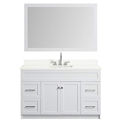 """ARIEL55 Inch Single Sink Bathroom Vanity Set in White with Pure White Quartz Counter-top 