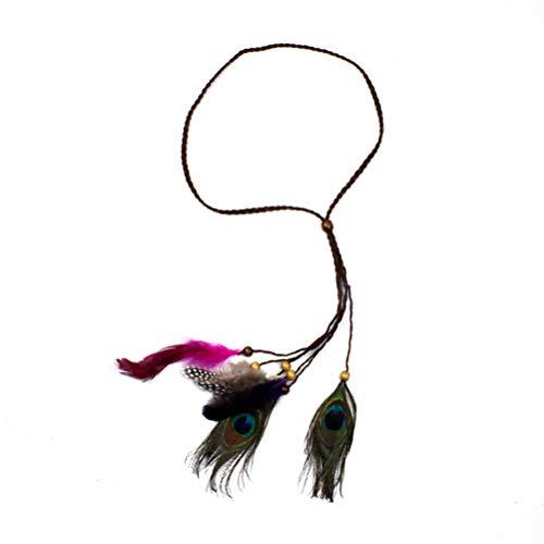 Lurrose Diadema de plumas de indio con borla y cuerda de cáñamo hair