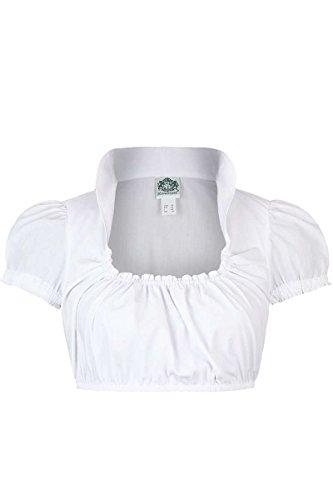 Hammerschmid Damen Dirndl Bluse Stehkragen kurzer Arm Weiss, Weiß, 40