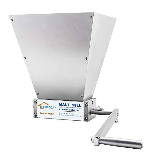 FERRODAY Malt Crusher Stainless Steel 2 Roller Malt Mill Homebrew Grain Crusher Manual Adjustable Barley Grinder (Medium) - NO Wooden Base Version