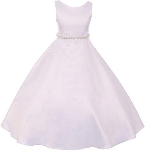 Big Girls' Satin Pearl Trim Wedding Holy First Communion Flower Girl Dress White 14 (K38D6)