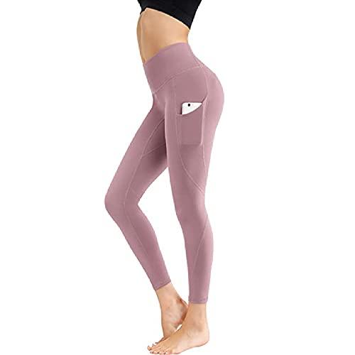 ZMMA Leggings de Yoga de Cintura Alta para Mujer con Bolsillo, Pantalones de Control de Barriga atléticos Suaves para Correr, Ciclismo, Entrenamiento de Yoga XXL Rosa