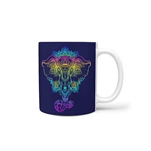 O2ECH-8 11 Oz Elephant Wasser Cappuccino Tasse mit Griff Hochwertige Keramik Unique Tasse - Elephant Freunde Geschenk, für Haus verwenden White 330ml