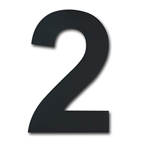 Número de casa moderno cepillado, 205 mm de altura, hecho de acero inoxidable 304 sólido, chapado en negro (Número 2 Dos)