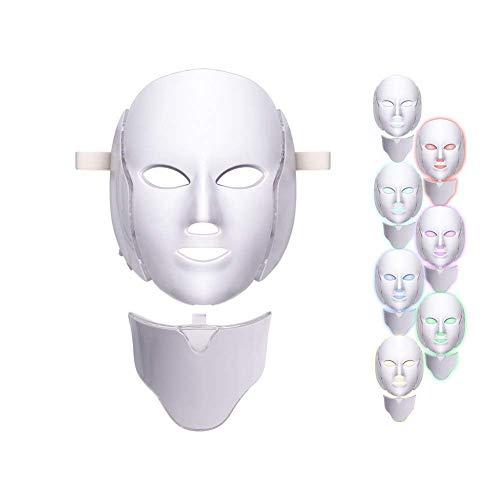 WQU Terapia Della Luce Con Maschera Facciale A Led Per Un Ringiovanimento Della Pelle Sana Di Viso E Collo, 7 Colori