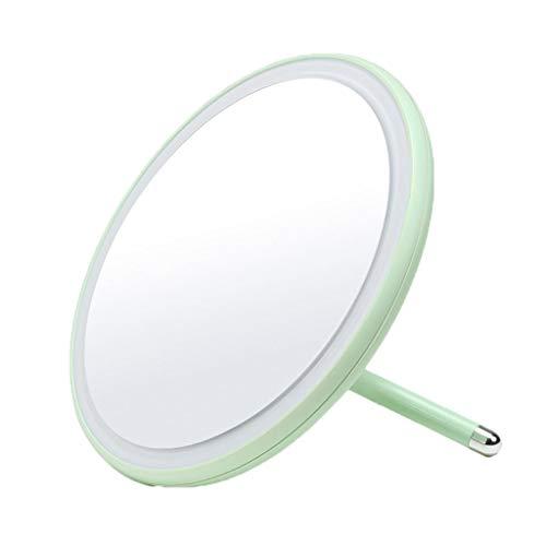Miroir de maquillage LHY à LED Mirroir de beauté Rond Portable Princesse Lumineuse La Mode (Color : Green)