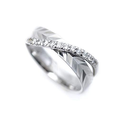 ピンキーリング プラチナ リング 指輪 Pt900 小指用 幅広 デザインリング レディース 天然ダイヤモンド キラキラ カット 表面加工 pinky 小さいサイズ 指輪 (2号)