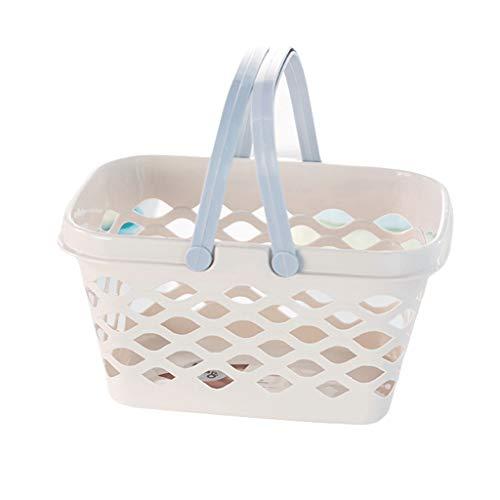 Storage Basket Bath Small Basket Storage Basket Bath Basket Bathing Shopping Basket Plastic Wash Basket ZHJING (Color : Beige, Size : S)