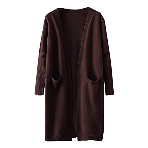 N\P Abrigo de invierno para mujer con bolsillos de color de punto de manga larga Streetwear Vintage Cardigan