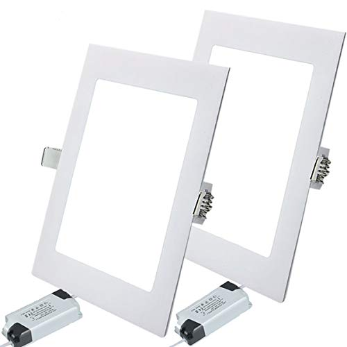2PACK LED Deckenleuchte LED Panellampe Einbaustrahler Einbauleuchten Square 15W 4000K Neutral White LED Downlight Ultra schlanke Lampe Scheinwerfer für Küche Bad Gang Lochgröße 18CM