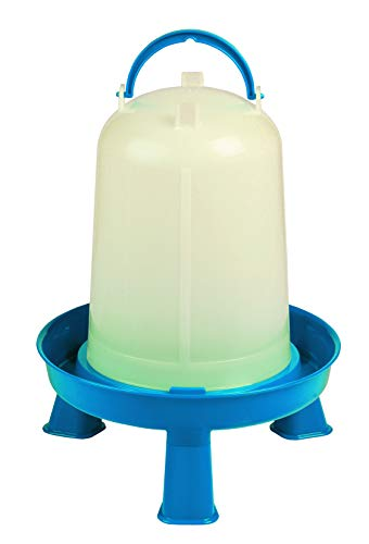 Poultry Waterer with Legs (Blue & White) - Durable Water Container with Carrying...