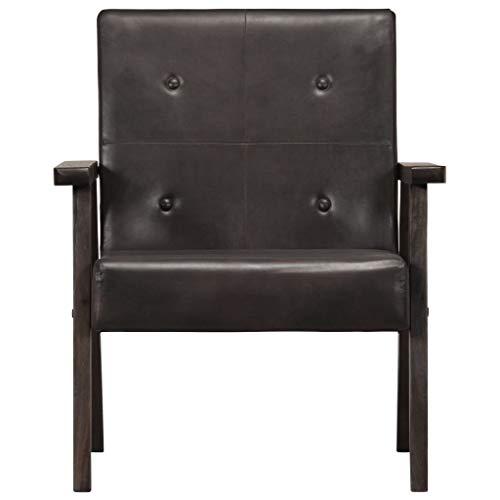 Tidyard Sessel Grau 61 x 70 x 74 cm Echtleder Armchair Upholstered Chair Leather Chair for Office Living Room