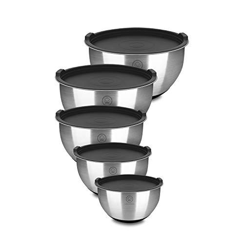 Arkhook Bol Inox - Premium Bols mélangeurs en acier inoxydable, ensemble de 5 bols de cuisine empilables avec couvercles sans BPA et mesures graduées, saladiers avec bases en silicone antidérapante