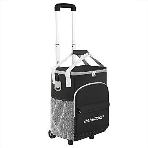 Insulated Rolling Cooler Bag Extended Collapsible, 2 in 1 Portable Beverage Cooler with Wheels Roller Bag Leak Proof Trolley Soft Cooler Bag BBQ Beach Summer, Camping, Picnics, Hiking