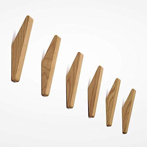 Matty-LZ 6 Stück Vintage Holzhaken Holz Haken Tragfähigkeit 5kg, Wandhaken Bademantelhaken Huthaken Kleiderhaken Mehrzweckhaken Schlüsselhaken (B Holzfarbe - 6er Set)