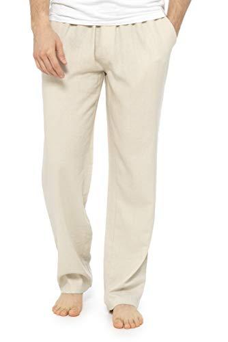 CityComfort Pantaloni Lino Uomo, Pantalone Casual Vita Elastica M, L, XL, XXL, Nero Blu Navy Kaki Beige Cargo di Tela Lunghi Estivi Comodi, Abbigliamento Estivo Leggero (Beige, XL)