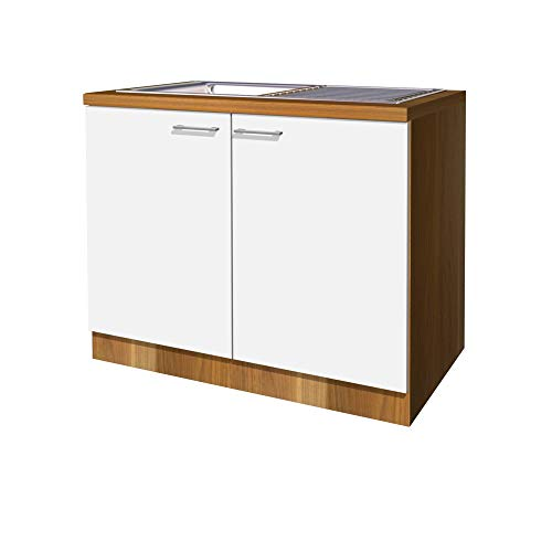Flex-Well Küchen-Spülenschrank COSMO - Spülenunterschrank mit Spüle - 2-türig - Breite 100 cm - Weiß