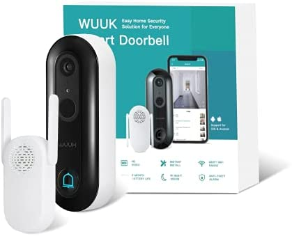 WUUK Smart Video Doorbell Camera wi-fi with Motion Detector, Battery-Powered, 1080p Door Camera Wireless, No Monthly Fee, Easy Installation, SDcard/Cloud Storage, Alexa Compatible (Black)