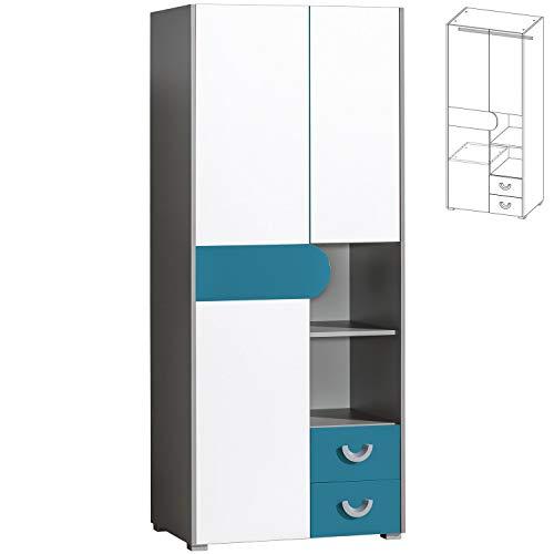 Furniture24 Kleiderschrank Futuro F1 Schrank mit 2 Türen, 2 Schubladen und Kleiderstange, Schrank mit Drehtür, Kinderzimmer (Weiß/Graphite/Türkis)