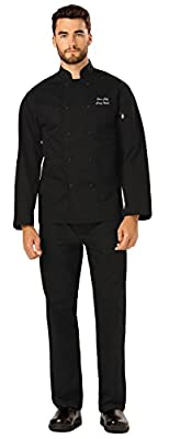 Embroidered Unisex Classic Knot Button Chef Coat (Style DC43) Black XL