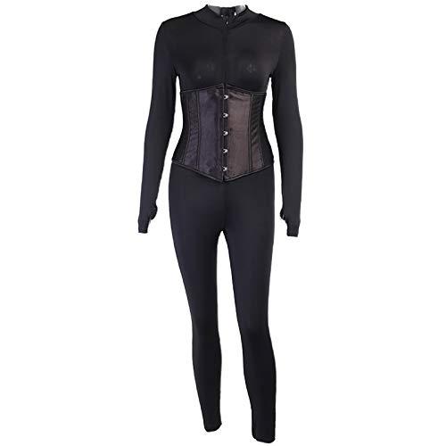 GROOMY Rompers, Women 2Pcs Long Sleeve Turtleneck Half Zipper Jumpsuit with Lace-Up Corset Set- Black-M