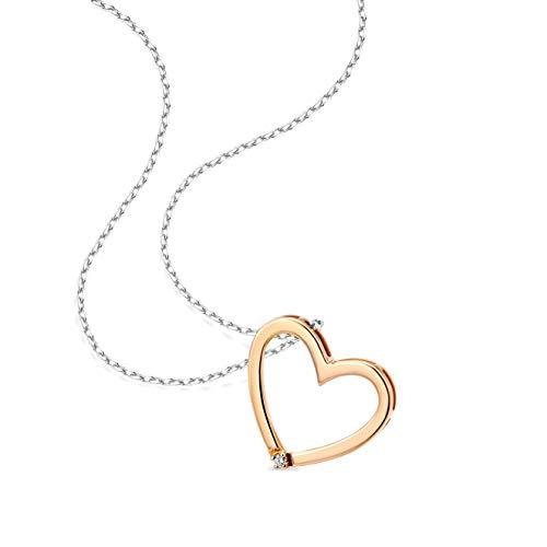 Orovi Collar Señora Corazón con cadena en Oro Blanco y Oro Rosa con Diamante Talla Brillante Oro 9 Kt / 375 Cadena 45 Cm
