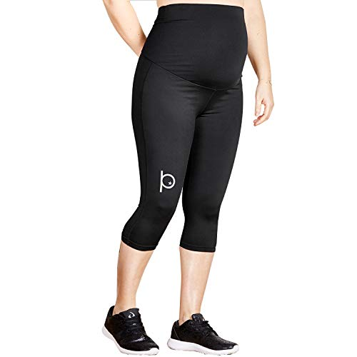 Training For Pregnant The Short Tights Umstandsleggins 3/4 Schwarz | sehr Bequeme Umstandsmode Damen Leggings | Sportleggings Yoga Leggins in der Schwangerschaft | stützt den Babybauch Größe S