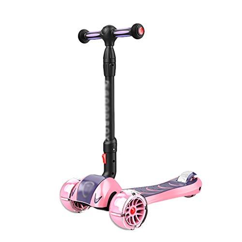 Outdoor Toys Scooter plegable de altura ajustable PU ruedas intermitentes Patinete para niños de 2 a 14 años de edad para dirigir juguetes al aire libre (color: rosa A)