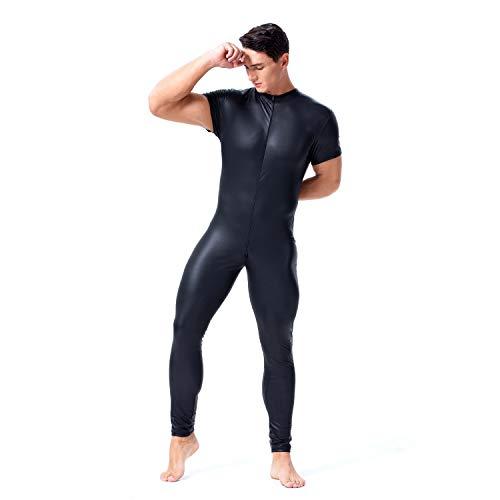 Glanzend lakleer catsuit full body heren zentai ontwerp sexy latex strakke rits jumpsuit rubberen kleding clubwear,Black,L