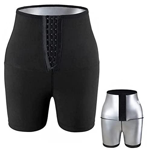 Fencelly Pantalones cortos de fitness, pantalones deportivos de cintura alta con revestimiento de plata para acelerar la sudoración levantamiento de glúteos