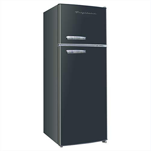 Frigidaire EFR753-BLACK, 2 Door Apartment Size Refrigerator with Freezer, 7.5 cu ft, Retro, Black