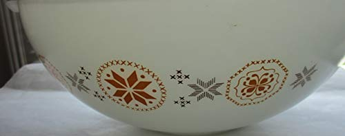 Pyrex Vintage Orange Brown Snowflake Cinderella Nesting 4 qt. Mixing Bowl