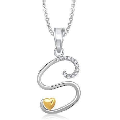 MEENAZ Jewellery Silver 'S' Letter Pendant for Girls Women Locket Pendants