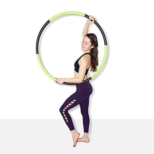 The Spinsterz Body Hoops Weighted Hula Hoop for Exercise and Fitness (Black & Green, Regular - 36 Diameter)