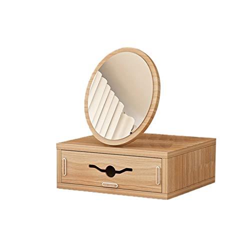 Espejos de Mesa a Prueba de Explosión -GDingQ Vistiendo Tabla espejo, dormitorio dormitorio sitio de madera espejo de la alta definición de la Ronda de belleza pequeños Espejo Espejo de maquillaje joy
