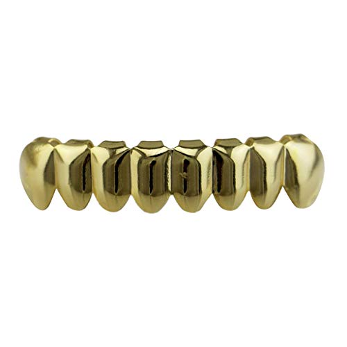 dailymall 18K Hip Hop Top/Bottom Mouth Teeth Grills Unisex - Golden - Bottom Grills
