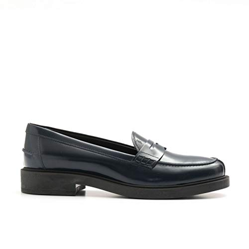 Tod's - Blue brushd Leather Loafers with Penny bar - XXW0ZP0H500SHAU807-36
